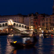 Rialto Bridge In Venice At Night With Gondola Art Print