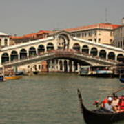 Rialto Bridge In Venice With Gondola Art Print