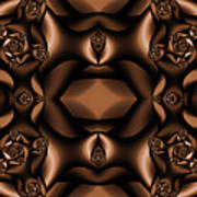 Rich Coffee Fractal Roses Art Print