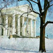 Richmond Virginia Capitol In Snow Art Print