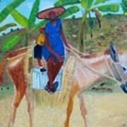 Ride To School On Donkey Back Art Print