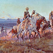 Riders Of The Open Range Art Print by Charles Marion Russell