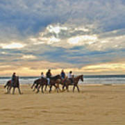 Riding At The Beach Art Print