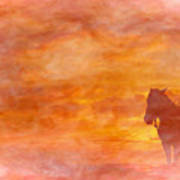 Riding Into The Sunset Art Print
