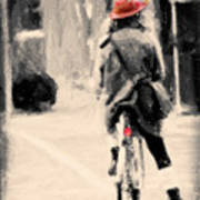 Riding My Bicycle In A Red Hat Art Print
