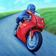 Riding The Highlands - Ducati 999 Art Print