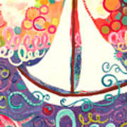 Riding The Waves In Bubbles Of Joy Art Print