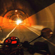 Riding Through One Of The Many Tunnels In The Italian Alps Art Print