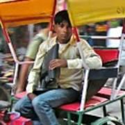 Rikshaw Rider - New Delhi India Art Print