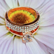 rings on white daisy love Valentine's Day  gerbera and wedding gold  Art Print