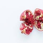 Ripe Pomegranate Fruit On A White Background Art Print