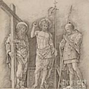 Risen Christ Between Saints Andrew And Longinus Art Print