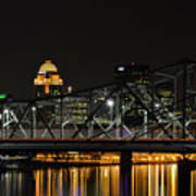 Ohio River Bridges And Louisville Skyline Art Print