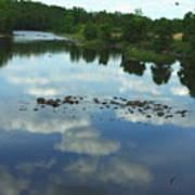 River Cloud Reflection Art Print