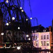 River Dijver, Rozenhoedkaai Area At Night, Bruges City Art Print