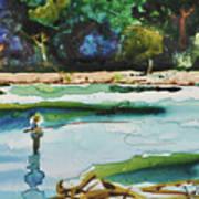 River Fishing Art Print