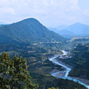 River  Flowing From Mountain Art Print