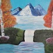 River Flowing Through Mountains Art Print