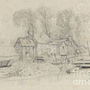 River Landscape With Buildings, Boats, And Figures Art Print