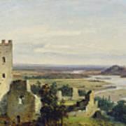 River Landscape With Castle Ruins Art Print