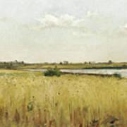 River Landscape With Cornfield Art Print