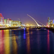 River Liffey In Dublin At Dusk Art Print