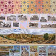 River Mural Autumn Panel Top Half Art Print