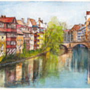 River Pegnitz In Nuremberg Old Town Germany Art Print