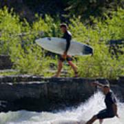 River Surfers Snake River Art Print