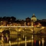 River Tiber And Vatican At Night Art Print