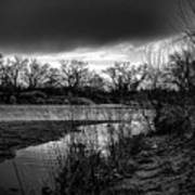 River With Dark Cloud In Black And White Art Print
