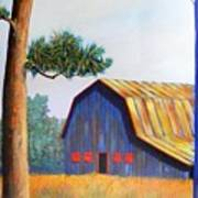 Riverbank Barn Art Print