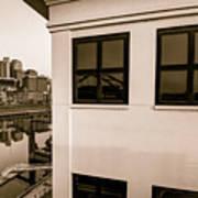 Riverfront View Of The Nashville Skyline - Vintage Sepia Art Print