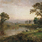Riverscape In Early Autumn Art Print by Jasper Francis Cropsey