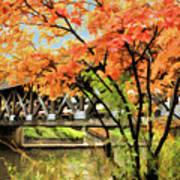 Riverwalk Covered Bridge Art Print