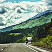 Road Alaska Bicycle  Art Print