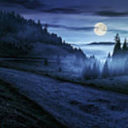 Road Near Foggy Forest In Mountains At Night Art Print