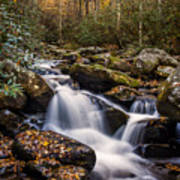 Roaring Fork Waterfall At Autumn Print by Andrew Soundarajan