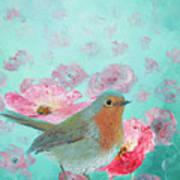 Robin In A Field Of Poppies Art Print