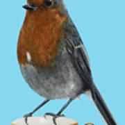 Robin On Cup Art Print