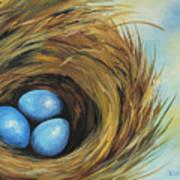Robin's Three Eggs II Art Print