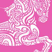 Rocinante Horse - White On Pink Art Print