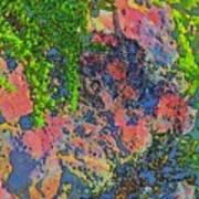 Rock And Shrub Abstract Bright Art Print