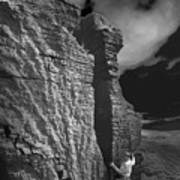 Rock Climber Monochrome Landscape  Art Print