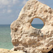 Rock With A Hole With A Tropical Ocean In The Background. Art Print