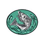 Rockfish Jumping Color Oval Drawing Art Print