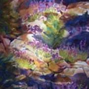 Rocks And Lupine    Sold Art Print