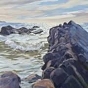 Rocks At Widemouth Bay, Cornwall Art Print