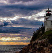 Rocky Cliffs Below Maine Lighthouse Art Print