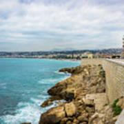 Rocky Coastline In Nice, France Art Print